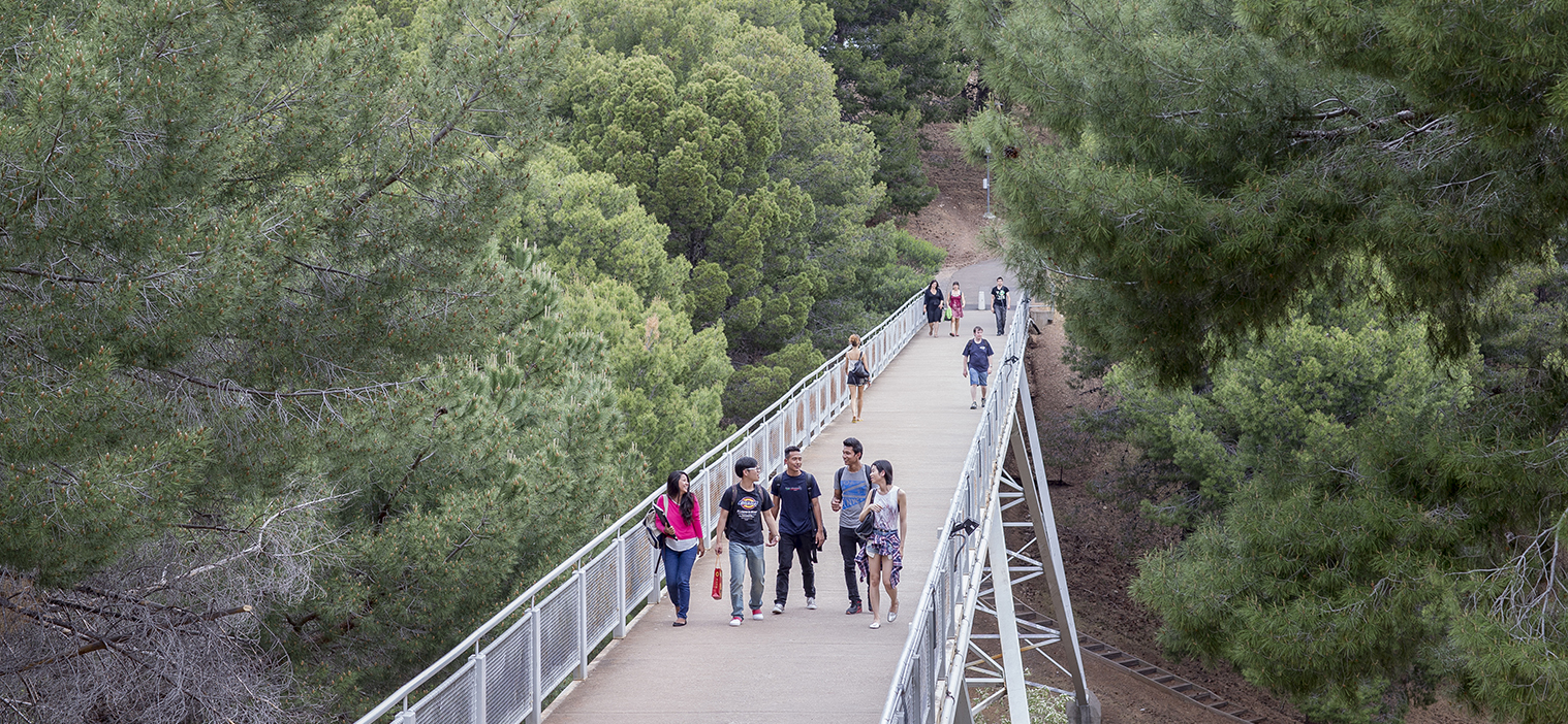 Flinders ISC students on the footbridge on campus